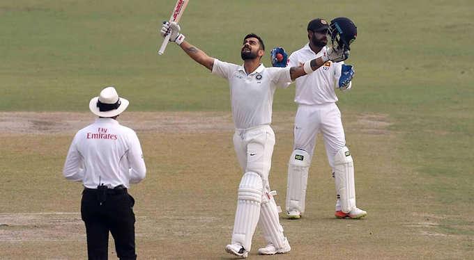 कोटला टेस्ट में कोहली की डबल सेन्चुरी, भारत ने श्रीलंका को दिया विराट टारगेट