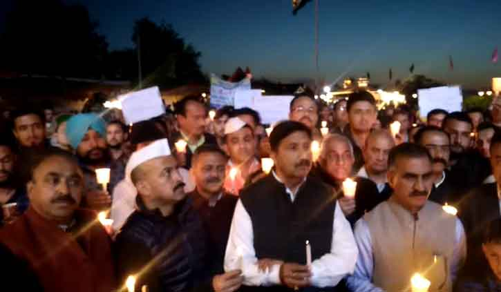 J&Kऔर U.P में हुई रेप घटनाओं पर कांग्रेस ने निकाला  प्रदेश में कैंडल मार्च, दरिंदों को फांसी की मांग